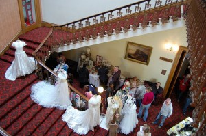 Wedding dresses on the beautiful staircase
